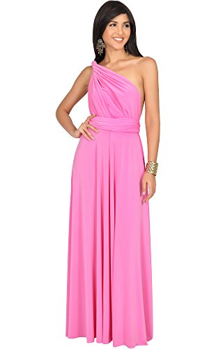 KOH KOH Petite Womens Long Bridesmaid Multi-Way Wedding Convertible Wrap Infinity Cocktail Sexy Summer Party Formal Prom Transformer Gown Gowns Maxi Dress Dresses, Bubblegum Pink XS 2-4]()