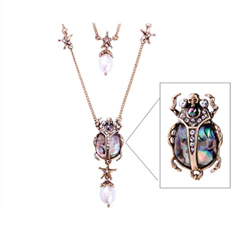 NORTHSTAR PEARLS AND JEWELRY: Beetle Insect Fashion Necklace for Adults Vintage Gold-Tone, Victorian Style. A Skull and Stars Necklace. (Abalone Color) ()