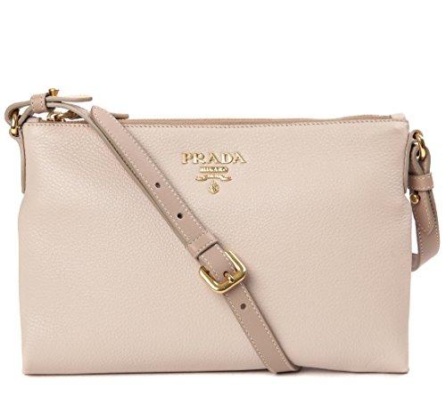 Wiberlux Prada Women's Real Leather Gold Logo Detail Zippered Crossbody Bag One Size Light - Pink Prada Light