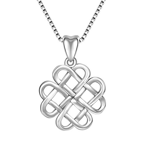 Angemiel 925 Sterling Silver Good Luck Irish Celtic Knot Vintage Pendant Necklace Gift for Women Girl, Box Chain ()