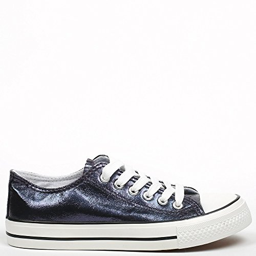 Ideal Shoes, Damen Sneaker Marineblau
