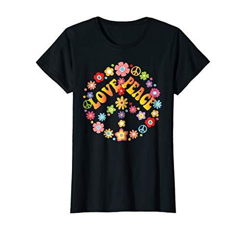 Female Sign Women T-shirt - Womens PEACE SIGN LOVE T Shirt 60s 70s Tie Die Hippie Costume Shirt Medium Black