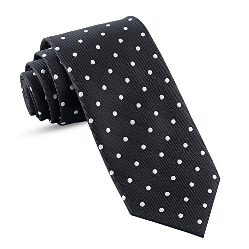 (Handmade Ties For Men: Skinny Woven Slim Tie Mens Ties: Thin Necktie, Solid Color Neckties For Every Outfit (Dots - Black & White - 3