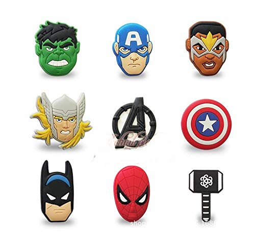 Astra Gourmet Superhero Brooch Pins Badges Set - 9 Pack PVC Super Hero Cartoon Characters Badge Medal Safety Pins for Superhero Party Favors, Goodie Bag Fillers, Classroom Prizes (Pin Superhero)
