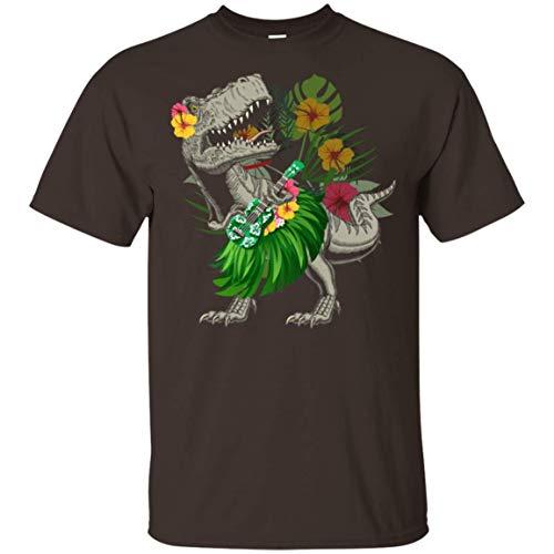 Dinosaur Ukulele-Uke T-Shirt - Funny Aloha Hawaiian Shirt, L, Unisex T-Shirt/Dark - Aloha Hawaiian Chocolate Shirt