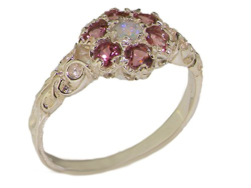 10k White Gold Natural Opal & Pink Tourmaline Womens Vintage Daisy Ring - Sizes 4 to 12 Available (Tourmaline Pink Daisy)