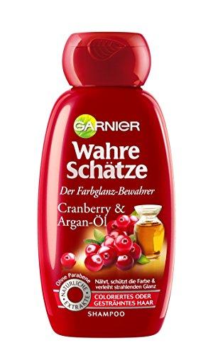 GARNIER Wahre Schätze Shampoo / Intensive Haarpflege bis in die Spitzen / Schützt die Haarfarbe (mit Argan-Öl & Cranberry - für coloriertes oder gesträhntes Haar - ohne Parabene) 1 x 250ml
