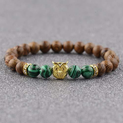 Gatton Natural Stone Gold Silver Owl Beaded Charm Wooden Mens Women Bracelets 7.5 | Model BRCLT - 41594 |