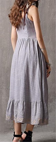 Women's Gray Swing Denim Embroidery Sleeveless Dresses Retro Cromoncent Ruffled pwZdqOpa