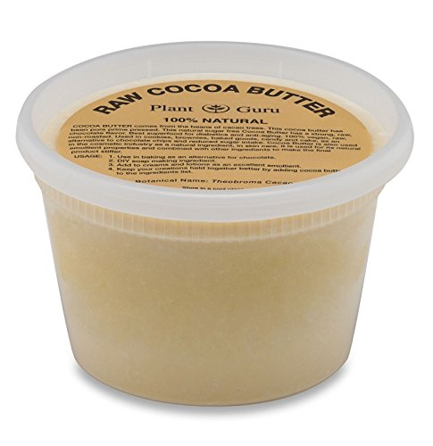 Raw Cocoa Butter 16 oz / 1 lb Pure 100% Unrefined FOOD GRADE Cacao Highest Quality Arriba Nacional Bean, Bulk Rich Chocolate Aroma For Lip Balms, Stretch Marks, DIY Base for Body Butters & Soap Making by Plant Guru