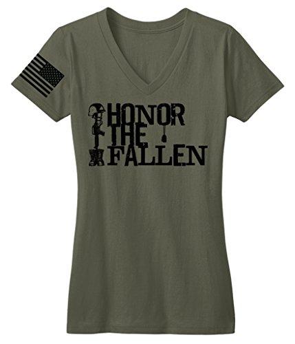 "Bang Bang Apparel Women's ""Honor The Fallen"" V-Neck Tee (Small, Military Green)"