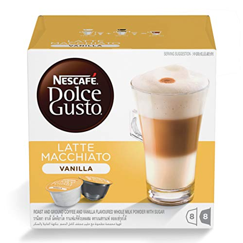 Nescafe Dolce Gusto for Nescafe Dolce Gusto Brewers, Vanilla Latte Macchiato, 16 Count
