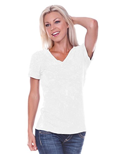 White Retro Burnout T-shirt (Kavio! Women Retro Wash BurnOut Jersey V Neck Short Sleeve White S)