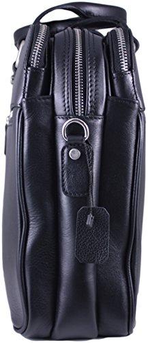 Zavelio Hombres de Negocios Maletín Messenger bolso bandolera de piel auténtica David marrón canela talla única negro