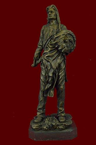 ...Handmade...European Bronze Sculpture Indian Chief With Shield & Gun Full Headdress Native American 22
