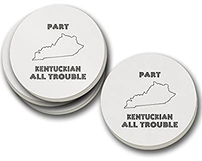Part Kentuckian All Trouble Kentucky Sandstone Coasters Round Set of 4