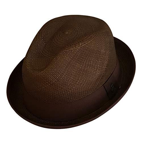 cd672ec2 Original Panama Hat - Short Brim Fedora - Unisex Style - Many Colors -  Toquilla Straw - Handwoven in Ecuador (Medium | 56cm - 57cm, Brown)