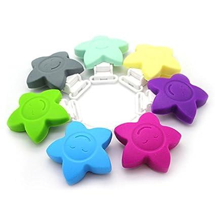 Ruby - 7 Pinzas de Silicona Clips Estrella Pinzas de Chupete para ...