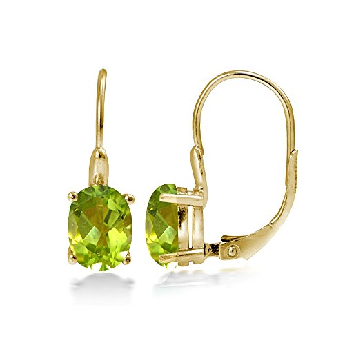 Yellow Gold Flashed Sterling Silver Peridot 8x6mm Oval Leverback Earrings - Oval Peridot Polished Earrings