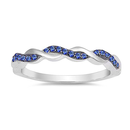 Blue Simulated Sapphire Stackable Thin Knot Ring .925 Sterling Silver Band Size 8 ()