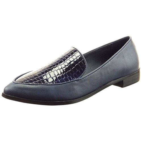 Sopily - damen Mode Schuhe Mokassin Ballerina Schlangenhaut Patent - Blau