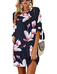 Minipeach Women's Summer Round Neck Printed Casual Mini Dress