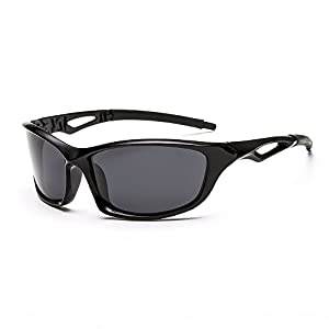 Sport Polarized Sunglasses for Male Mens Fashion Shades Mirror Designer HD UV400 Shine Black Frame Black Leg