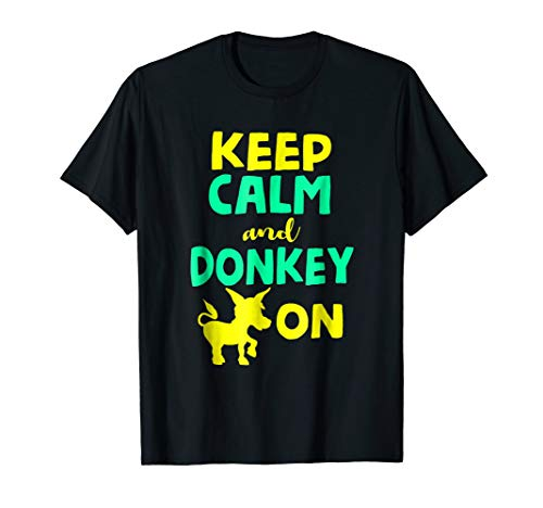 Funny Keep Calm and Donkey On T-shirt Farmer