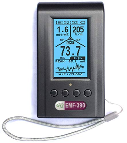 Advanced GQ EMF-390 Multi-Field Electromagnetic Radiation 3-in-1 EMF ELF RF Meter, Cell Tower Smart Meter Hidden WiFi Signal Detector RF up to 10GHz with Data Logger, with 2.5Ghz RF Spectrum Analyzer (Portable Cell Tower)