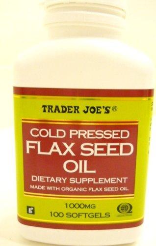 Froide de Trader Joe pressée Flax Seed Oil Dietary Supplement base de produits biologiques Huile de lin 1000 mg / 100 gélules pas de gluten ingrédients utilisés nombreux avantages pour la santé !!!!!