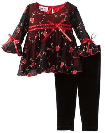 Blueberi Boulevard Baby Girls' Embroidered Set, Black, 12 Months