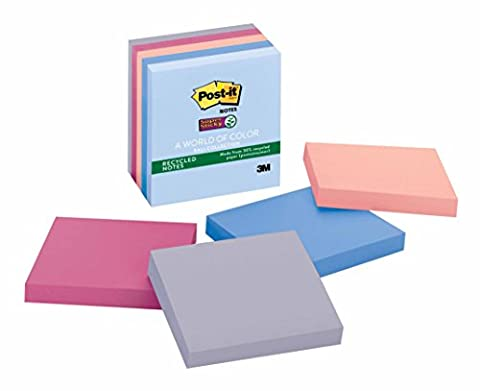 Post-it Recycled Super Sticky Notes, 3 in x 3 in, Bali Collection, 5 Pads/Pack (654-55SNRP) - Hues Super Sticky Notes