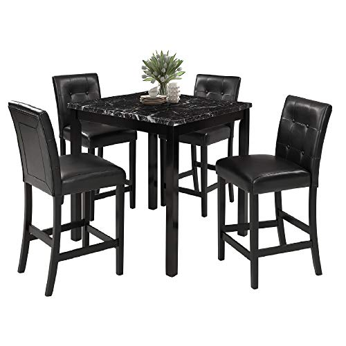 LZ LEISURE ZONE 5-Piece Kitchen Table Set Marble Top Counter Height Dining Table Set with 4 Leather-Upholstered Chairs (Marble) Counter Height Dining Room Sets