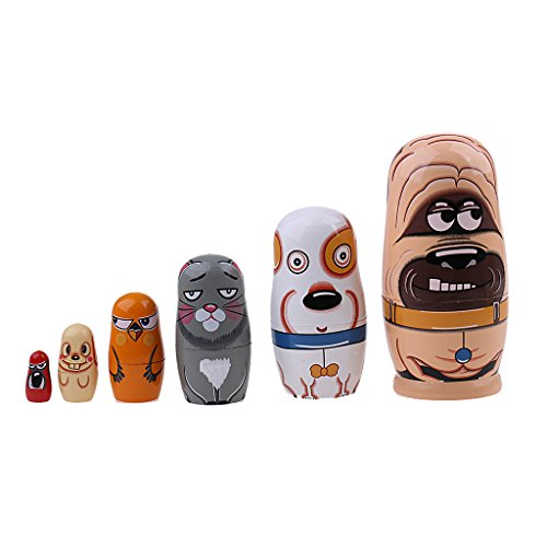 Coppthinktu Russian Nesting Dolls Matryoshka Wood Stacking Nested Set 6 Pieces Handmade Toys for Children Kids Christmas Mother's Day Birthday Home Room Decoration Halloween Wishing Gift