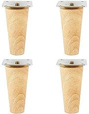 Eyohome Meubelvoetjes, 4 stuks, houtkleur, eiken, voor stoelen, kast en bank, met schroeven en viltglijders, schuin of recht