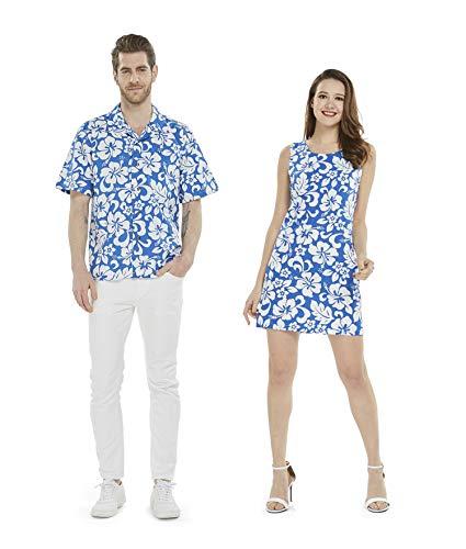 Couple Matching Hawaiian Luau Cruise Outfit Shirt Tank Dress Classic Vintage Hibiscus Blue Men L Women -