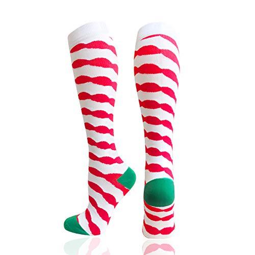 Women's Novelty Compression Socks 20-30mmhg - Christmas tree、colorful love、wine glasses、flowers、dog (1 Pairs) (L/XL, Christmas - Socks Stripe Flower