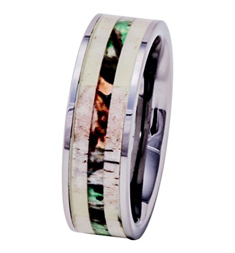 PCH Jewelers Deer Antler Ring Tungsten with Camo Wood Inlay 8mm Mens Wedding Band Comfort Fit (10.5)