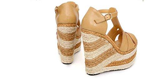 LvYuan Sandalias del verano de las mujeres / oficina y carrera / talón ultra atractivo / plataforma impermeables / talón de cuña del lino / hebilla / zapatos romanos Khaki