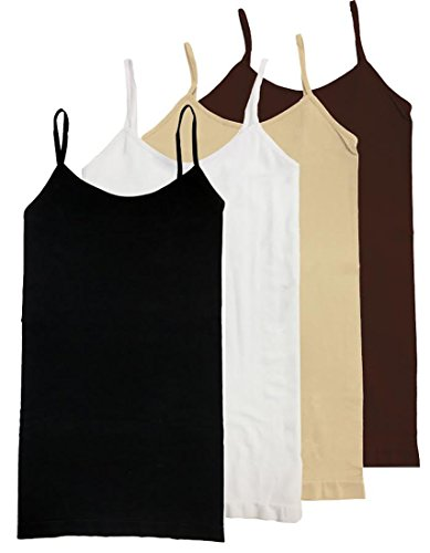 HL California Camisole Spaghetti Strap 4-Way Strech Seamless Top VALUE PACK (4PK BLK/WHITE/BEIGE/BROWN)