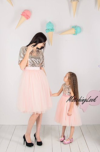 Amazon.com  Gold Sequin Dresses Mother daughter Matching Dresses Mommy and  me Dress Matching Outfits for Mom and Daughter Open Heart Back Birthday  Tutu  ... dbbfafce6355
