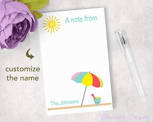 Summer Notepad (Personalized beach theme notepad - beach notepad summer notepad 50 sheets)