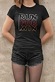 Camiseta Baby Look Corra para ganhar Corrida Feminino Preto
