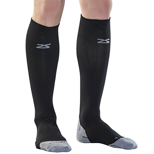 Zensah Tech+ Compression Socks, Black, Large