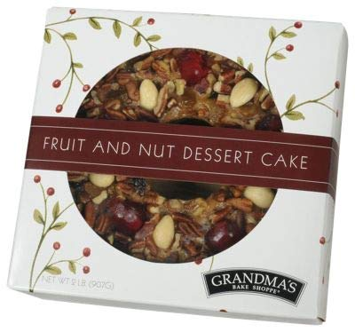 Grandma's Fruitcake Traditional Recipe, Moist Cake with Fruit and Nuts, Plump Raisins, Cherries, Pineapple, Pecans, Walnuts Baked in Small Batches, Hand Decorated, Finest Ingredients with no Citron, Lemon Peel or Bitter Candied Fruit, 2 Pound Ring in Gift-Ready Box