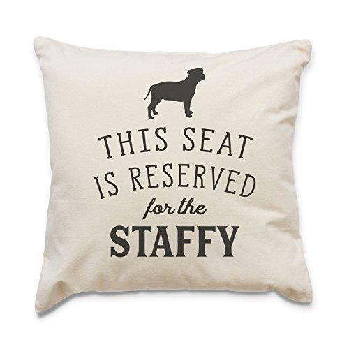 NEW - RESERVED FOR THE STAFFY - Top Quality Cushion Cover - Dog Gift Present Xmas Birthday - Staffordshire Bull Terrier