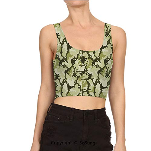 (Women Sexy Cami Vest Crop Army Background Woodland Wild Nature Tank Top Blouse)