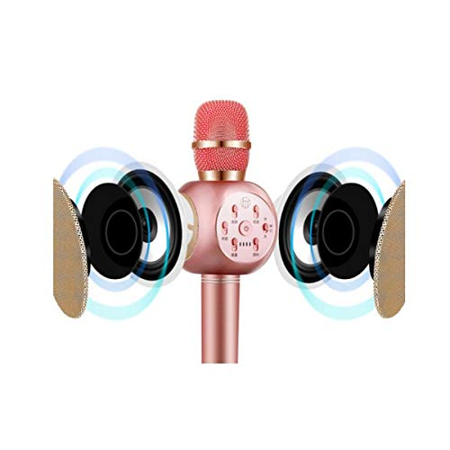 Karaoke, K Song Mobile Phone Microphone, K Song Recording Device, Microphone Audio One Wireless Bluetooth Family Ktv, Rose Gold [Send Storage Box + Earphones] (Color : Pink)