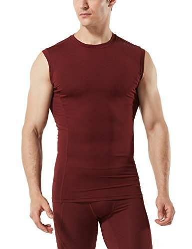 TM-MUA05-BCK_Large Tesla Men's R Neck Sleeveless Muscle Tank Dry Compression Baselayer MUA05