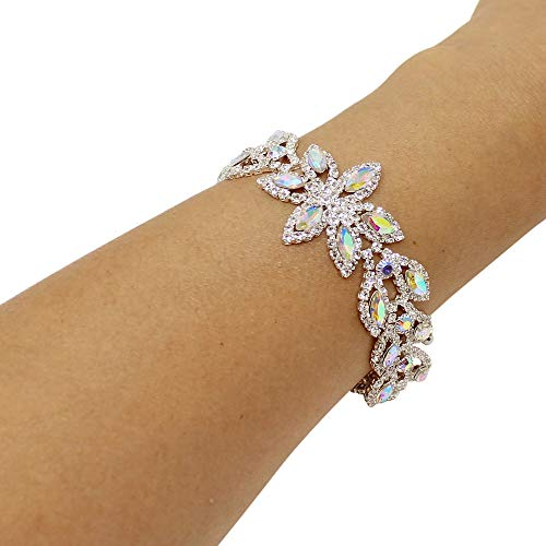JewelryNanny Cubic Zirconia Flower Petal Bracelet AB Crystals